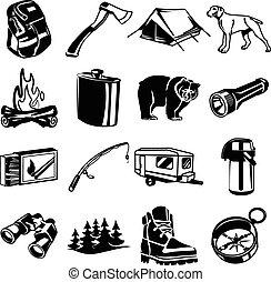 noir, ensemble, icône, vecteur, camping