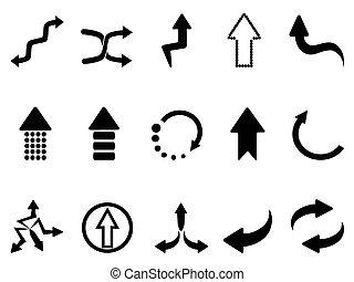 noir, ensemble, icônes, flèche