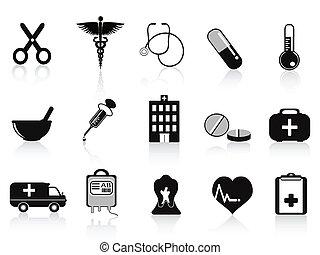 noir, ensemble, icônes, monde médical