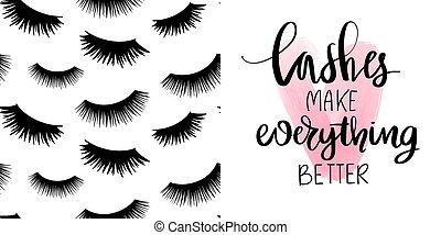 noir, ensemble, mèches, vecteur, citation, modèle, seamless, maquillage, long, eyelashes., mode, fermé, mignon, sur