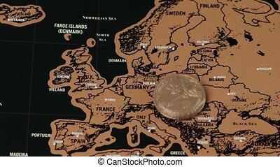 noir, europe, voyage, éraflure, eu, monnaie, dollar, carte
