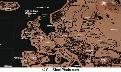 noir, europe, voyage, éraflure, eu, monnaie, dollar, rotation, carte