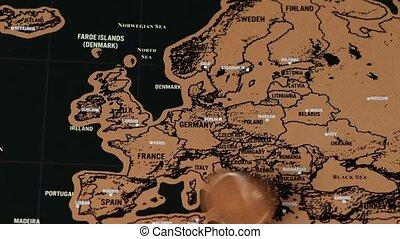 noir, europe, voyage, éraflure, eu, monnaie, dollar, vieux, carte