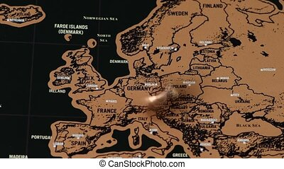 noir, europe, voyage, éraflure, rotations, homme, eu, monnaie, dollar, carte