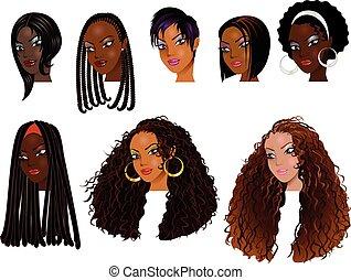 noir, faces, femmes