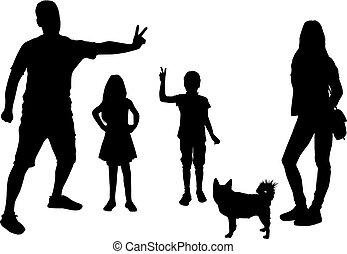 noir, famille blanche, arrière-plan., silhouette