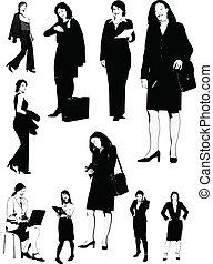 noir, femmes affaires, silh, blanc