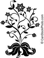 noir, fleur blanche, conception, element.