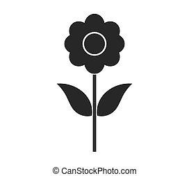 noir, fleur, icon.