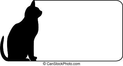 noir, frontière, chat
