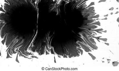 noir, goutte, aquarelle, diffusion, surface, peinture, 1920x1080, blanc, hd, sur