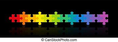 noir, gradient, arc-en-ciel, fond, coloré, morceaux puzzle, ligne