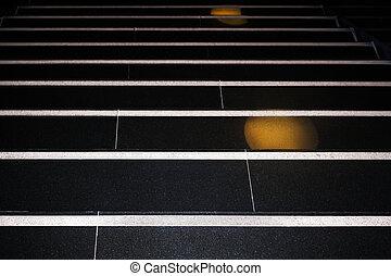 noir, granit, fond, résumé, blanc, horizontal, escalier, stripes.