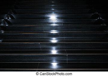 noir, granit, fond, résumé, géométrique, blanc, taches, middle., escalier, éclairage