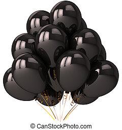 noir, hélium, ballons