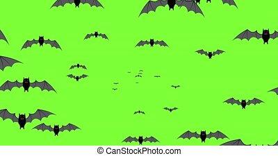 noir, halloween, bat volants