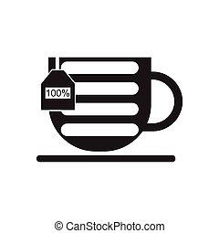 noir, icône, tasse, blanc, plat