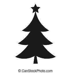 noir, icon., arbre noël, étoile, forme
