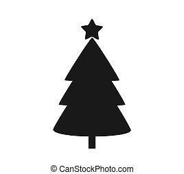 noir, icon., noël, forme, arbre