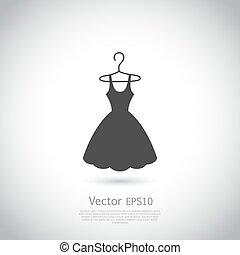 noir, icon., robe, hanger.