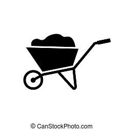 noir, icon-, roue, vecteur, illustration, brouette