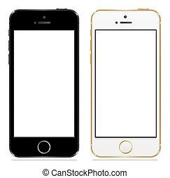 noir, iphone, 5s, pomme, blanc