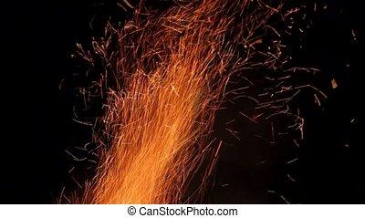 noir, isolé, brûler, particules, arrière-plan., résumé, incandescent