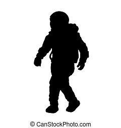 noir, isolé, complet, silhouette, espace, astronaut., cosmonaute, spaceman.