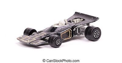 noir, jouet, métal, voiture