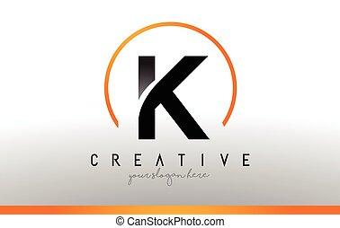 noir, k, moderne, color., conception, lettre, orange, logo, frais, template., icône