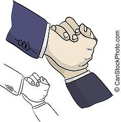 noir, lignes, dessiné, illustration, sien, portion, croquis, vecteur, ami, gros plan, griffonnage, isolé, homme affaires, fond, blanc, main