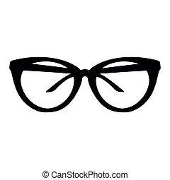 noir, lunettes soleil, fond blanc, silhouette