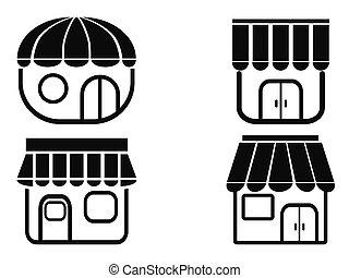 noir, magasin, icônes