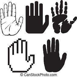noir, mains