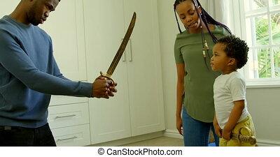 noir, maison, côté, confortable, vue, père, jouet, épée, 4k, jouer, fils, jeune