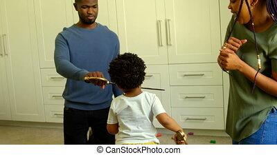 noir, maison, confortable, vue, père, jouet, épée, 4k, jouer, fils, jeune