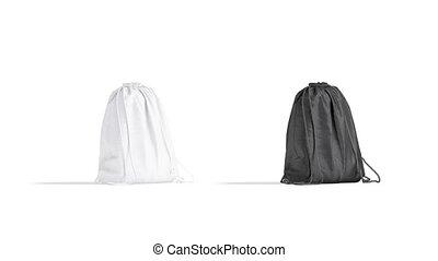 noir, mockup, sac à dos, blanc, rotation, cordon, 4k, vide, fait boucle
