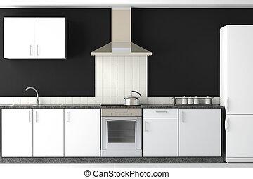 noir, moderne, conception, cuisine, intérieur
