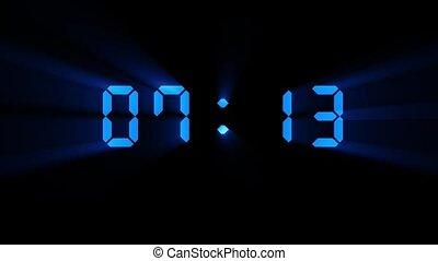 noir, mouvement, 0, 10, graphiques, bleu, animation, compte rebours, clair, minuteur, numérique, dix, brillant, secondes, incandescent, arrière-plan.