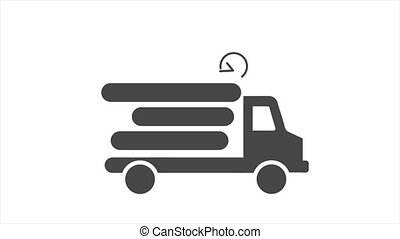 noir, mouvement, ligne, truck., camion, mouvement, arrière-plan., icône, expédition, jeûne, graphique, animation, livraison, 4k, blanc