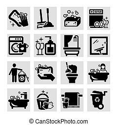 noir, nettoyage, icônes
