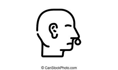 noir, nez, snot, animation, icône