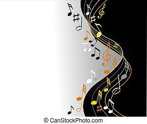 noir, notes, musique, fond, or