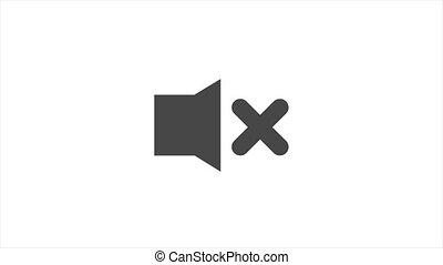 noir, orateur, symbole., arrière-plan., non, vidéo, isolé, icon., ligne, 4k, mouvement, icône, graphic., blanc, volume, muet, fermé, son