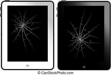 noir, pc tablette, blanc