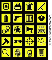 noir, police, collection, icônes