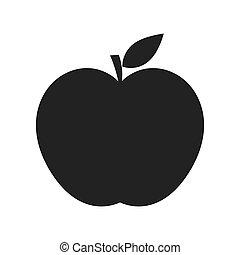 noir, pomme, icône