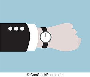 noir, porter, homme affaires, montre