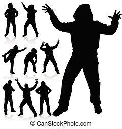 noir, poses, divers, silhouette, homme