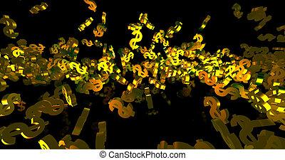 noir, render, événement, finance, arrière-plan., 3d, symboles, tomber, dollar, doré
